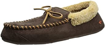 Dockers Men's Microsuede Moccasin Slipper, Brown,  8-9 M