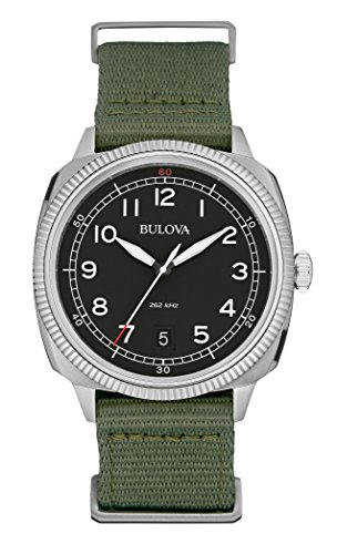 bulova-military-mens-quartz-watch-with-black-dial-analogue-display-and-green-canvas-strap-96b229