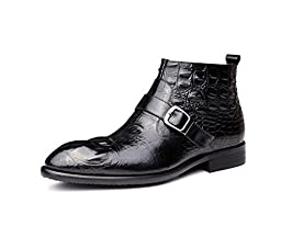 CAMSSOO Men\'s Buckle Zip Pointed Toe Low Heels Ankle Boots Shoes Black Cow leather 10 M US