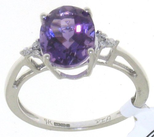 Stylish 9 ct Gold Women Channel Set Diamond Ring Brilliant Cut 0.05 Carat with Amethyst