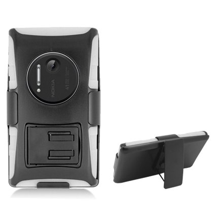 Cell Accessories For Less (Tm) For Nokia Lumia 1020 White Armor, W/ Black Belt Clip & Black Stand + Bundle (Stylus & Micro Cleaning Cloth) - By Thetargetbuys