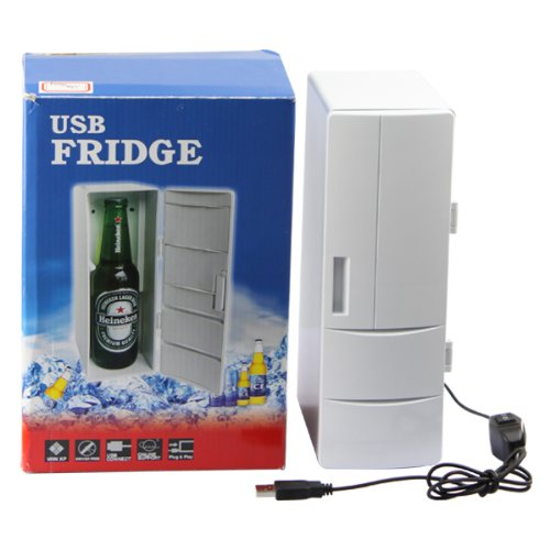 Mini Drink Cans Cooler/Warmer USB PC Fridge (White)