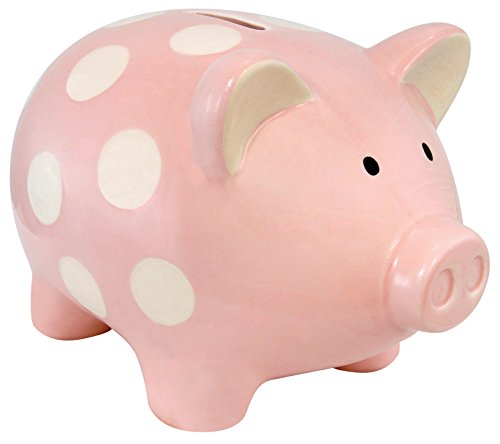 Stephan Baby Vintage Dot Ceramic Piggy Bank, Pink And White front-625732