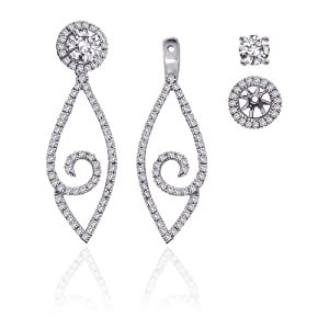 Click to buy 14K White Gold ¾ Carat Diamond Detachable Earring Jackets from Amazon!
