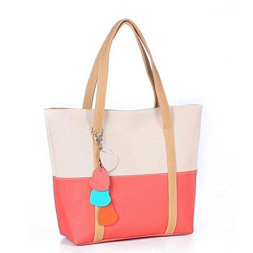YJ Sweet Elegent Mixed Color Totes Chain Pendants Hobo Shoulder Bag Handbag(Beige)