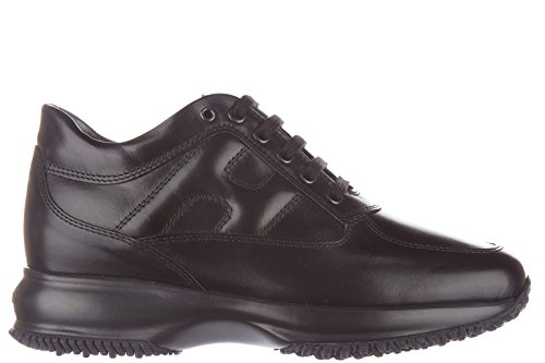 Hogan-womens-shoes-leather-trainers-sneakers-interactive-black