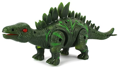 Dino Valley Stegosaurus Battery Operated Toy Dinosaur Figure w/ Realistic Movement, Lights and Sounds (Colors May Vary) by Velocity Toys (Battery Operated Helicopter compare prices)