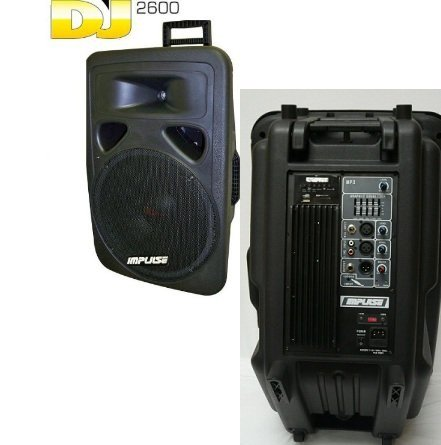 Impulse Dj-2600 /Dj2600 2-Way Pa Speaker System With 15_Inch Subwoofer 2600-Watt Power /And 1.75'' Titanium Diaphragm Driver /Aux Inpot/Sd/Usb/Fm Radio 5 Band Equalizer And Metal Housing Microphone