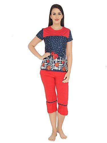Valentine-Womens-Winterwear-Round-Neck-Top-Capri-Set-Red