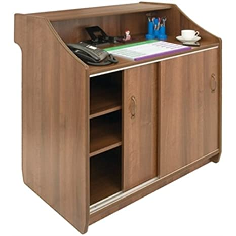 Deluxe Reception Counter 1500mm Walnut Dimensions 1100(H) x 1500(D) x 600(D)cm