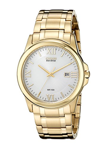Citizen Eco-Drive Three-Hand Gold-Tone Stainless Steel Men's watch #BM7262-57A