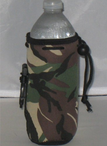 Water Bottle Koozie With Drawstring & Clip, Camo front-682757