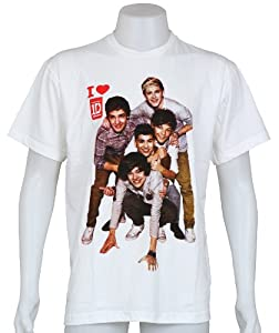 One Direction Uk Boy Band Color Print Niall Zayn Liam Harry Louis Size Medium White Tee T-shirt from Smock
