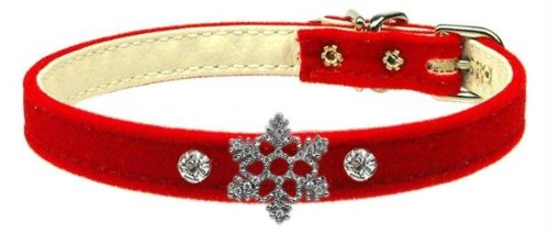 Mirage Pet Products Snowflake Charm Collar for Dogs, 14-Inch, Red Velvet