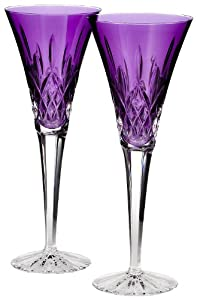 Waterford Toasting Flutes - Set of 2 Lismore Amethyst Flutes - Gay Wedding Flutes