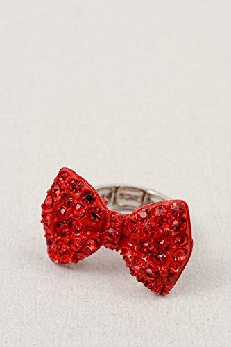 Glitz Finery Bow Tie With Rhinestones Stretch Ring (Red)