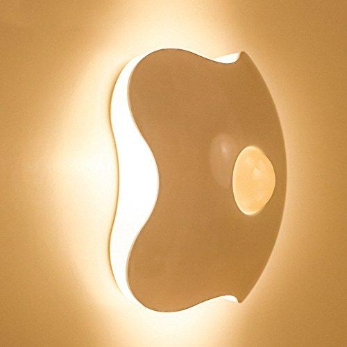 Skitic Luce Notturna Lampada Decorativa LED Night Light, Portatile con Sensore Il Corpo Umano Sensore di Movimento Lussuoso a Basso Consumo di Energia, Auto on/off, Alimentata a Batteria, per Corridoi, Viottoli, Giroscala, bambino Camera da letto, Sala lettura, Soggiorno, Giardino, Muri la Notte, le Scale e per i Gradini (Batteria non Inclusa) Bianco Caldo - 1 Stück