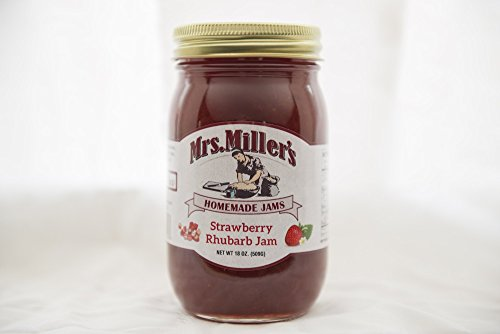 Mrs Miller's Amish Homemade All Natural Strawberry Rhubarb Jam 18 oz (No Corn Sugar) (Apple Pie Jelly compare prices)