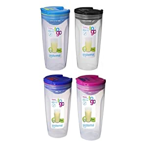 Sistema Shaker to go flip top mixer plastic carrying cup