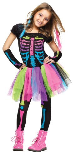 Girl's Funky Bones Costume Tween Girl's Neon Skeleton Halloween Costume