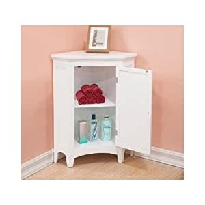 white corner floor storage cabinet with shutter door