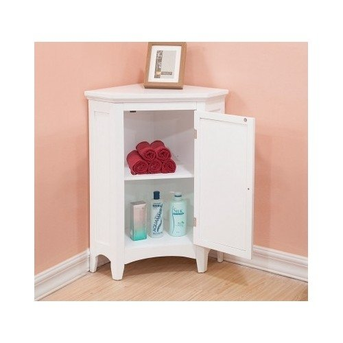 White Corner Floor Storage Cabinet with Shutter Door Bathroom Bedroom (Bathroom Table White compare prices)