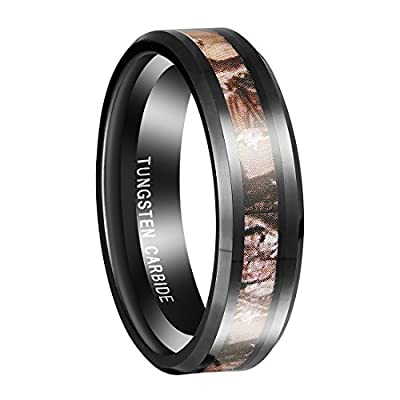 Queenwish 6mm Black Tungsten Men's Red Forest Camouflage Camo Hunting Band Ring Size 6-13