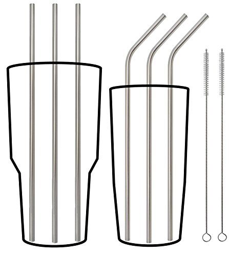 UltiStraws Stainless Steel Straws; Extra Long 10.5 inches - Specially Designed for Yeti RTIC and Tall Tumblers & Cups - Fits 20 & 30 oz; Premium 18/8 Set of 6 Straws (3 Straight + 3 Bent + 2 Brushes) (Stainless Steel Straws Onyx compare prices)