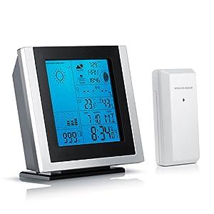 Brandson - Funkwetterstation mit Außensensor | inkl. Hygrometer / Barometer Mondphasen-Anzeige / Innen- und Außentemperatur uvm. | Außensensor | LED-Displaybeleuchtung