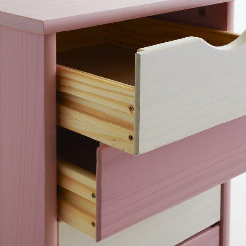 Caisson de bureau sur roulettesLAGOS,5 tiroirs, lasuré blanc/rose