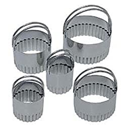 R&M Biscuit Cutter Polished Stainless Steel Set 5 PC Fluted with Handles