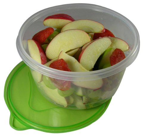 Set of Three 100% BPA-Free Tight-Lid, Microwave and Dishwasher safe, Large Bento Lunch Box Containers (Large, Round)