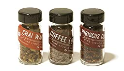 Untold Goods Spirits Infusion Kit - Quickly Add Flavor to Gin Rum Whiskey (Hibiscus Chai Coffee, 3 Vials)