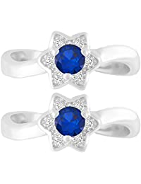 MJ 925 Star Pattern CZ Embedded 92.5 Sterling Silver Toe Rings For Women In Rhodium Finish
