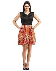 FashionVerb Solid with Animal Print Black Orange Beige Bhagalpuri Silk Net Satin Party wear V Neck Sleeveless Mini One piece western dress for women