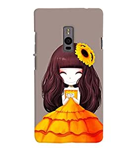 Printvisa Animated Girl With Orange Dress Back Case Cover for One Plus Two::One Plus 2::One+2