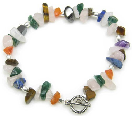 AM3715 – Unique gemstone chip toggle clasp bracelet by Dragonheart – 20cm