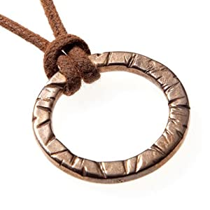 Infinity Peace Bronze Pendant Necklace on Adjustable Natural Fiber Cord