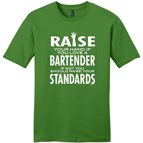 Love A Bartender If Not Raise Your Standards Young Mens T-Shirt Small Kiwi Green