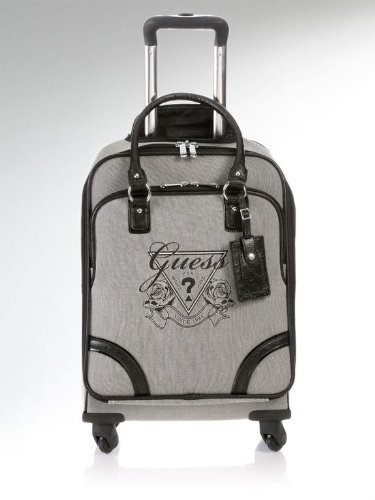 cheap sale guess avignon 20 spinner carry on luggage suitcase black gray in color. Black Bedroom Furniture Sets. Home Design Ideas