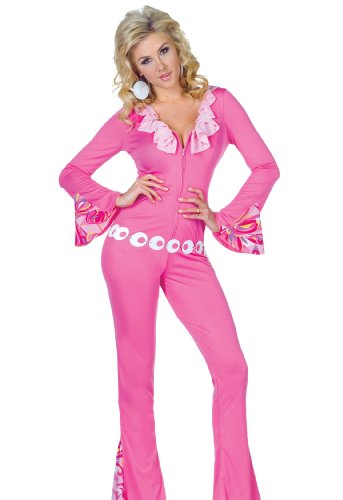 underwraps sexy womens 60s 70s disco halloween costume leisure suit jumpsuit