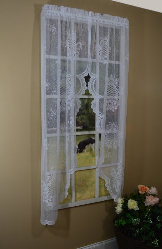 curtain chic cameo rose swag 63 inch ivory. Black Bedroom Furniture Sets. Home Design Ideas