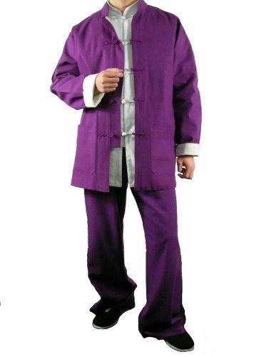 100-Baumwolle-Lila-Kung-Fu-Kampfkunst-Tai-Chi-Uniform-Anzug-XS-XL-oder-Von-Ma223schneider