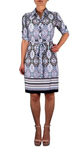 Peach Couture Womens Multi Pattern V Neck Shift ¾ Sleeve Waist Tie Shift Dress Blue Kaleidoscope X-large