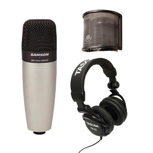 Samson C01U Cw Usb Condenser Microphone With Popgard & Tascam Th-02 Headphones Bundle