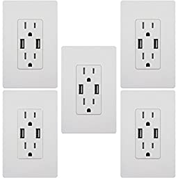 TOPGREENER TU2154A 4A High Speed USB Charger Receptacle 15A Tamper-Resistant Outlet w 2 Wall Plates, 5-Pack White