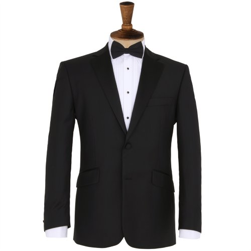 Racing Green Black Twill Two Button Dinner Jacket