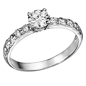 GIA Certified 14k white-gold Round Cut Diamond Engagement Ring (1.01 cttw, F Color, SI2 Clarity)