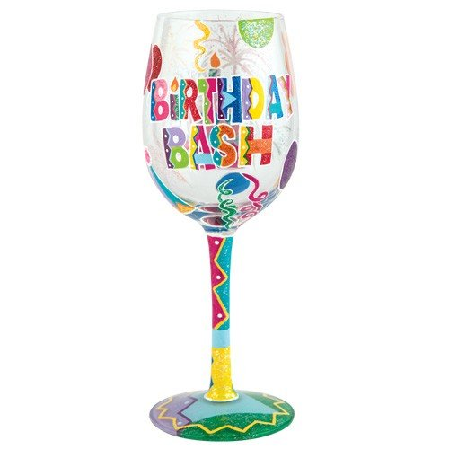 Lolita from Enesco Wine Glass, Birthday Bash (Design Wine Glasses compare prices)