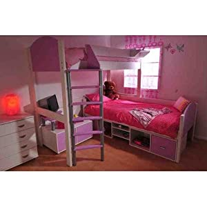 Casa High Sleeper Bunk Bed Set Cushion Colour: Black, Panel Finish: Lilac, Frame Finish: White